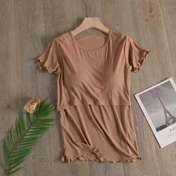 夏季薄款莫代尔哺乳衣外出产后孕妇短袖T恤母乳衣服喂奶服上衣