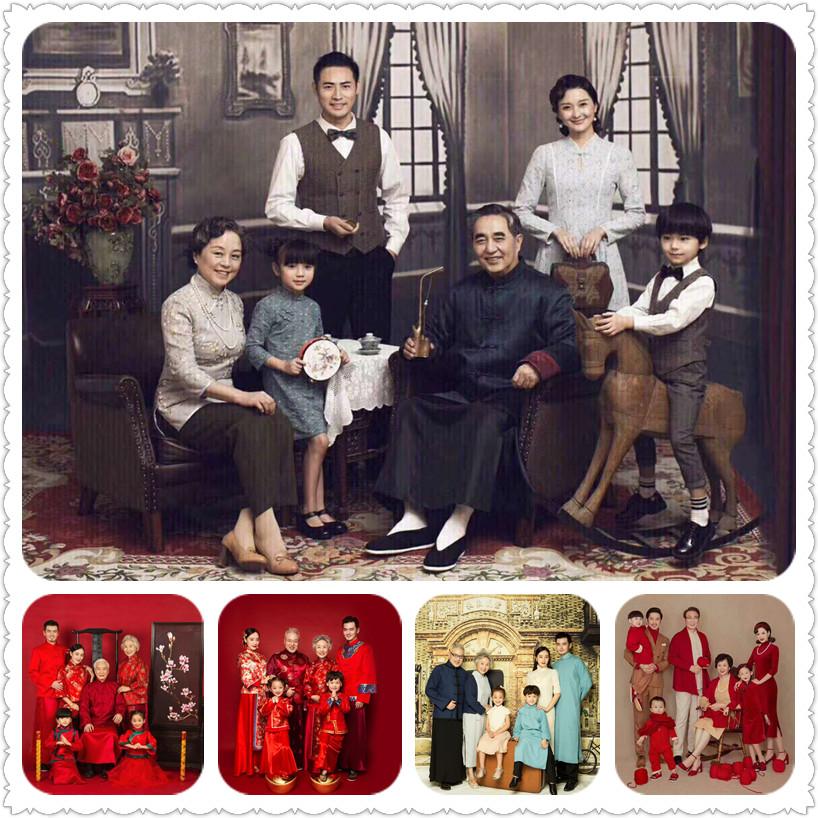 新款儿童摄影主题服装影楼拍照全家福六口亲子装韩版时尚中国风