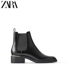 ZARA New Women's Shoes Black Ornaments Heel Flat Chelsea Shoes 1615200 1040