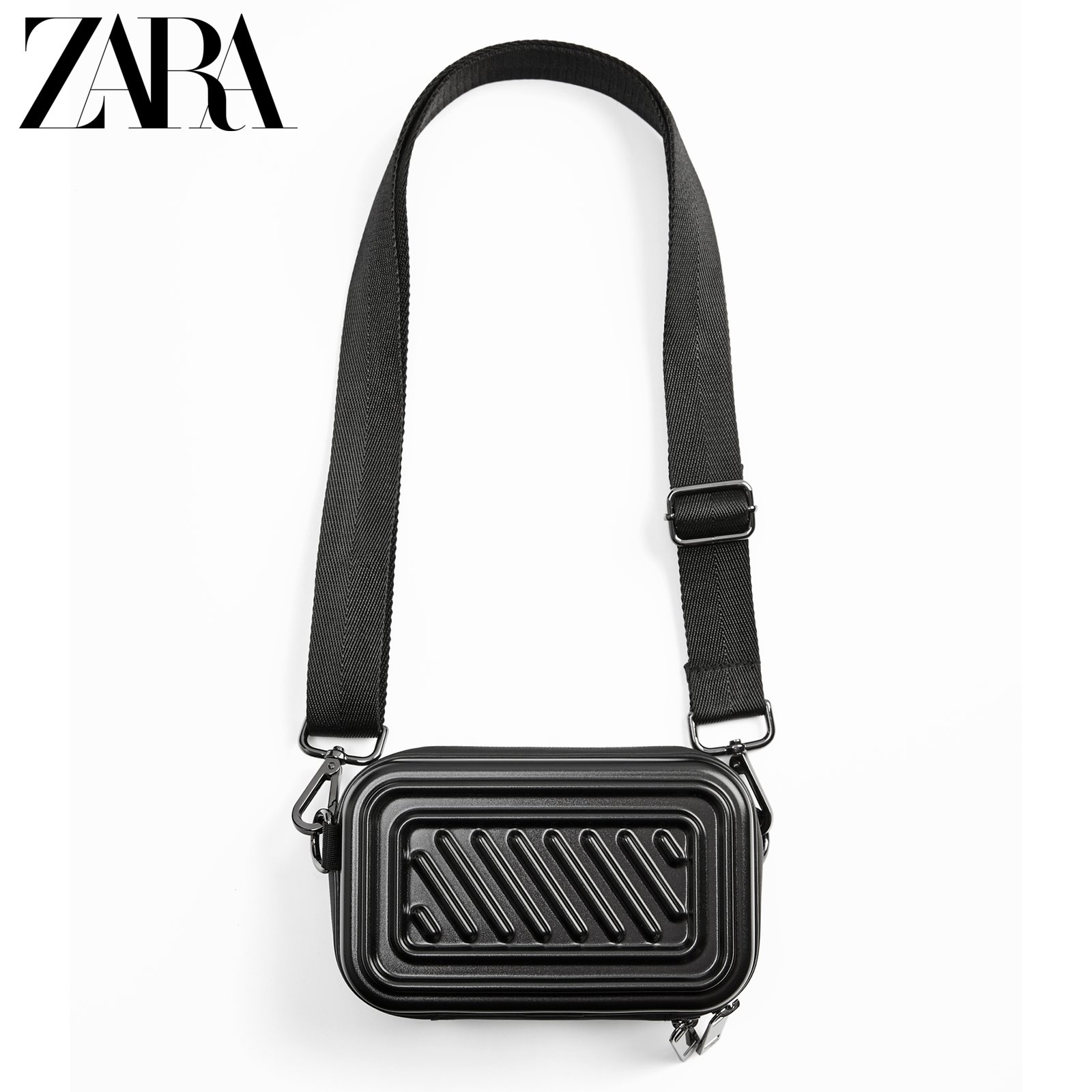 ZARA new men's bag black hard box-shaped mini envelope bag waist bag messenger bag 13600620040