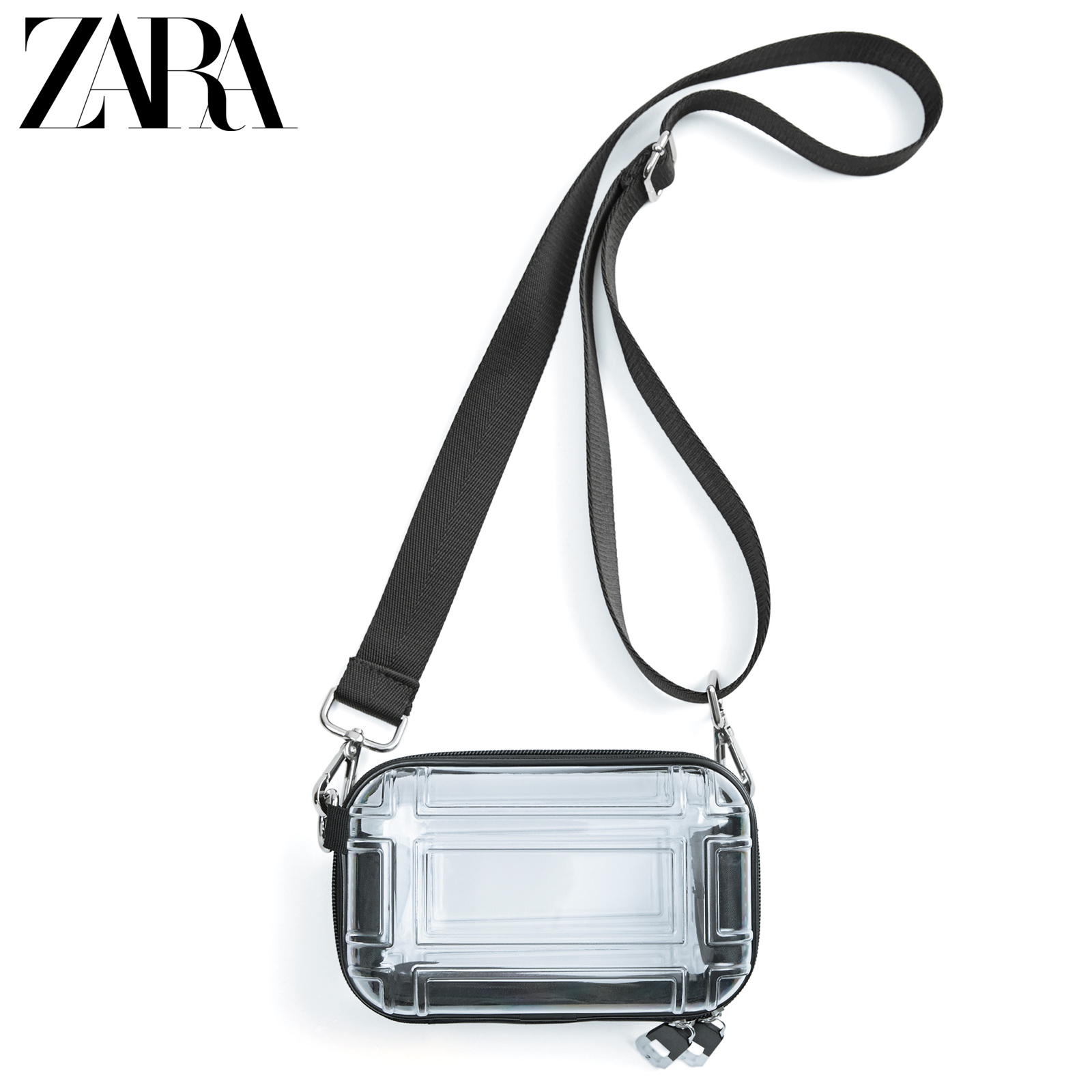 Zara new men's bag transparent hard box mini envelope bag Waist Bag Messenger Bag 13918520087