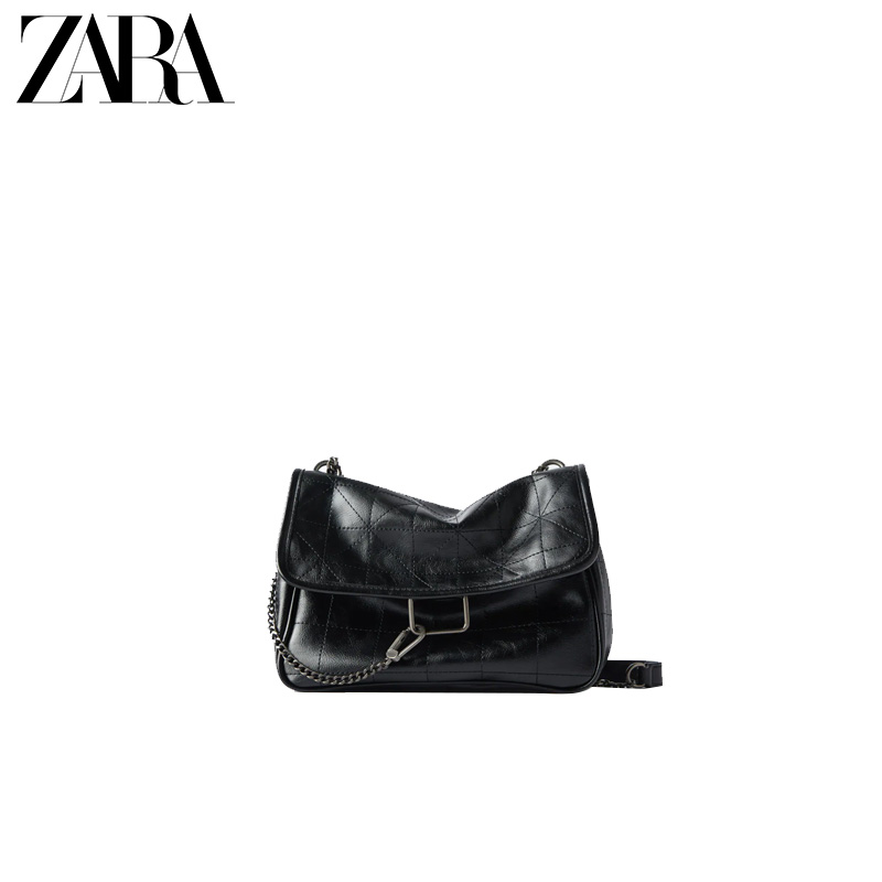 ZARA new female bag black rock style soft wallet-style all-match messenger bag 16312004040