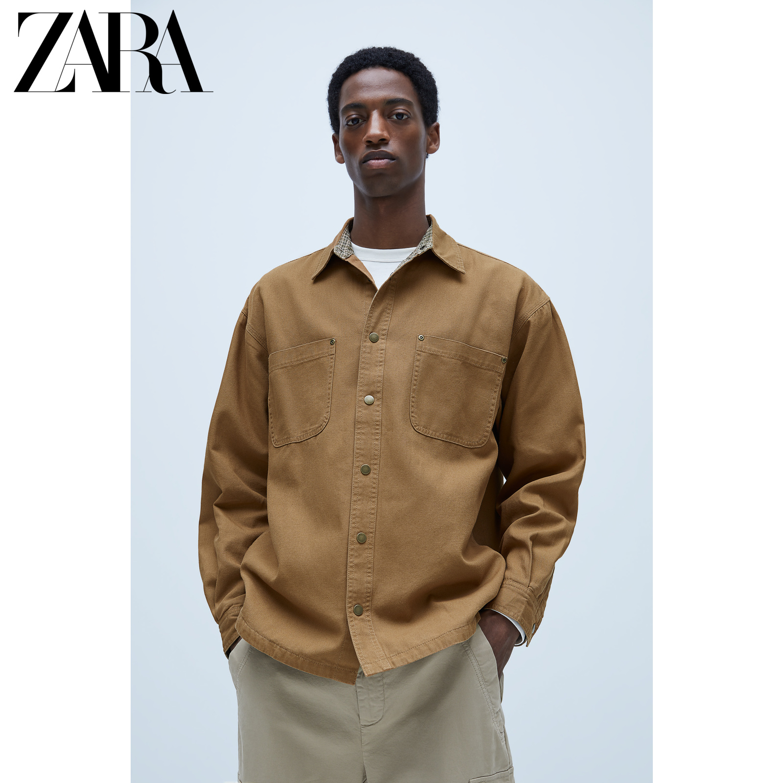 Zara new men's casual splicing texture shirt coat 01538400707