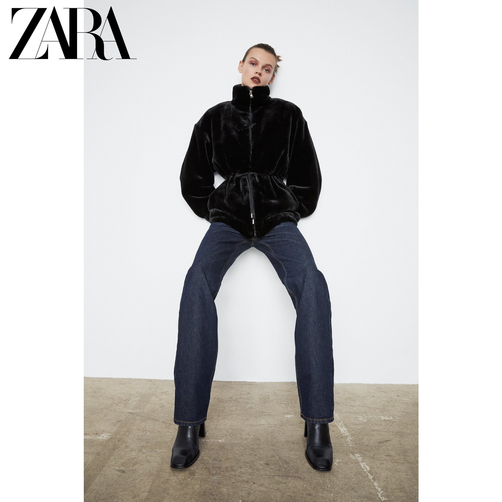 ZARA new women's clothing faux fur effect jacket 04369064800