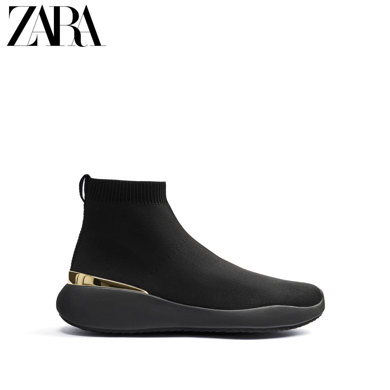 ZARA new men's shoes black inlaid thick-soled socks retro all-match sneakers 12102620040