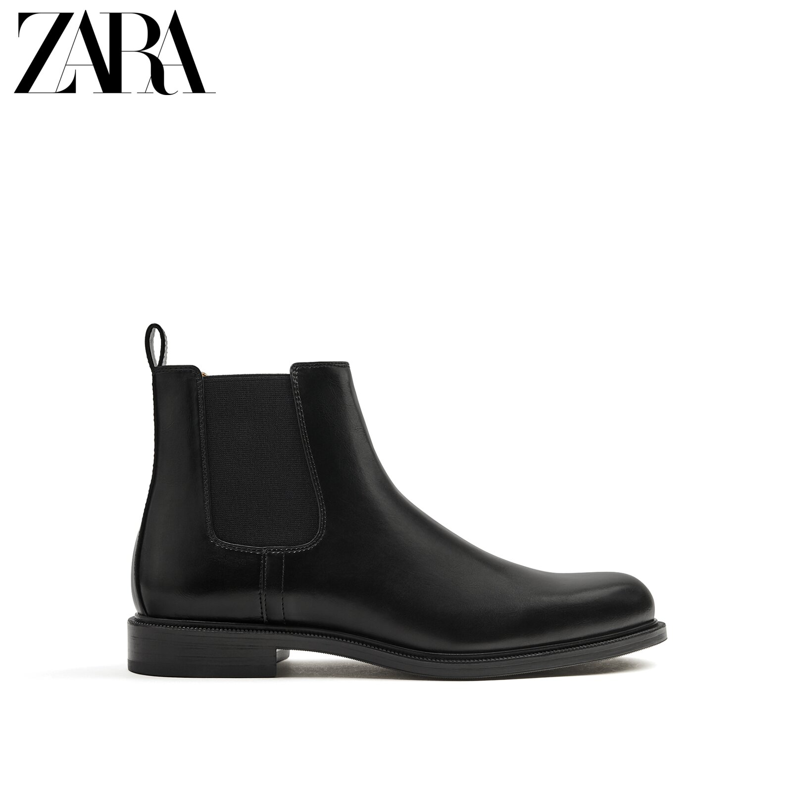 ZARA new men's shoes black retro wild classic trend chimney Chelsea short boots 12010720040