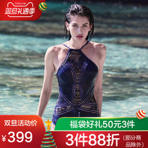 Valtos Jumpsuit sexy lace hollowed back swimsuit gather conservative skinny hot spring swimsuit woman
