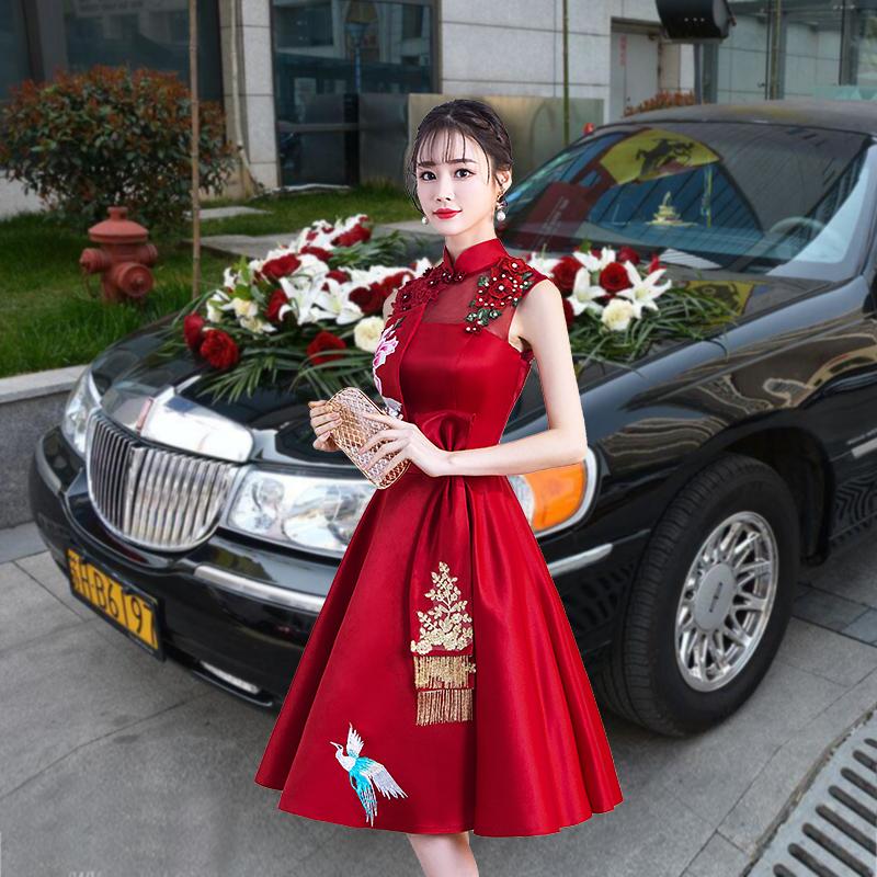 夏季敬酒服新娘春季2018结婚新款婚礼红色短款中式主持人礼服女