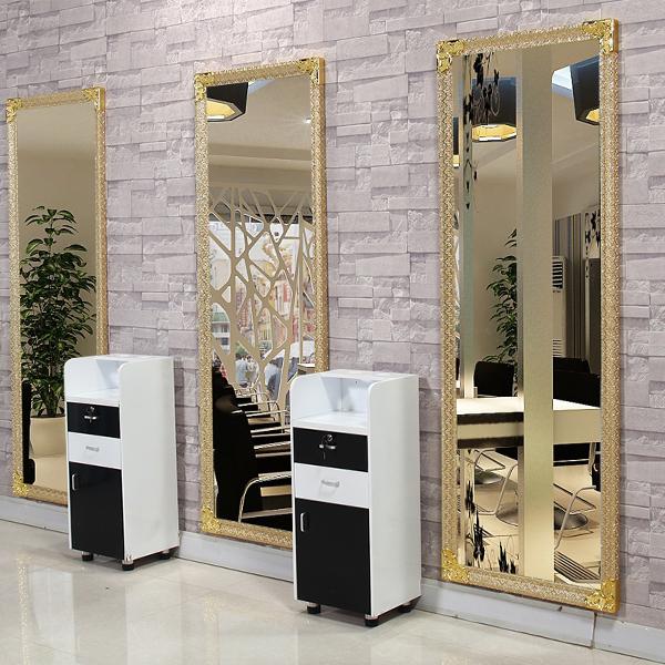 美发理发店镜台单面简约挂墙落地欧式发廊专用柜剪发镜子包邮清仓
