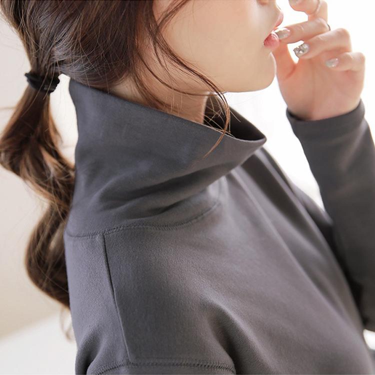 秋冬韩版新款高领大码中长款T恤纯棉长袖打底衫百搭显瘦纯色女