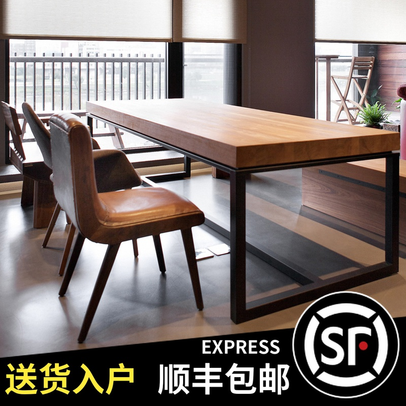American loft solid wood desk conference table long table simple modern rectangular iron table worktable