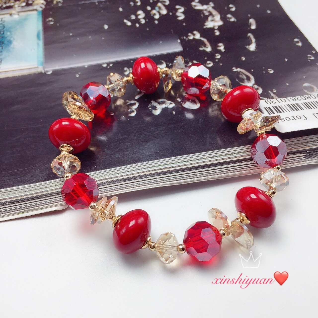 New red jujube crystal single ring bracelet net red fashion multi pearl Red Beaded string Elastic Bracelet