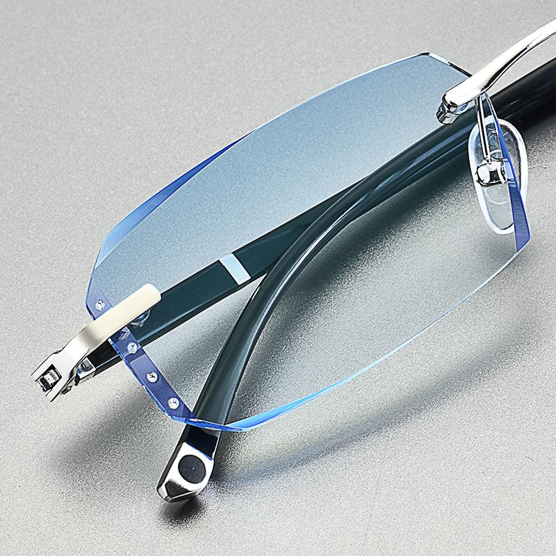 无框近视眼镜男女钻石切边平光变色商务防蓝光辐射有度数大脸舒适