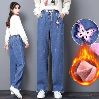 冬季松紧腰带加绒高腰女长裤牛仔裤