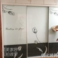 衣柜推拉门柜门定制移门钢化玻璃壁橱滑动高光多层实木板现代简约