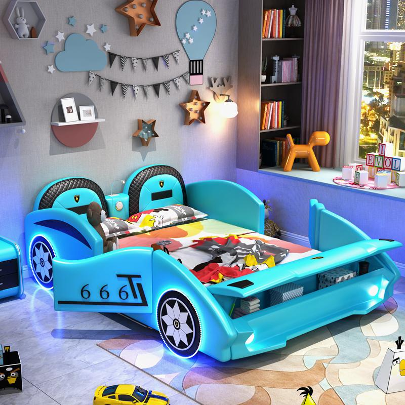 Childrens bed boy open door small steam lathe with guardrail solid wood single bed cartoon creative multifunctional storage leather bed