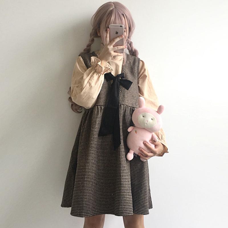 Осень и зима сладкий японский мягкий сестра студент бант кружево V воротник ремень юбка платье женщина два рукава ulzzang