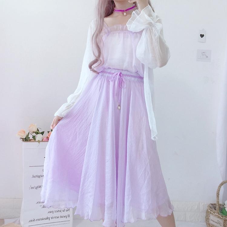 夏装新款女装雪纺衫防晒衣荷叶边吊带背心套装+大摆半身裙三件套