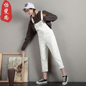 白色牛仔背带裤女韩版宽松连体吊带裤2019春新款咖啡色直筒九分裤