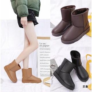 呈象超保暖短筒雪地靴女款加厚加绒棉鞋学生百搭2019冬季新款皮面
