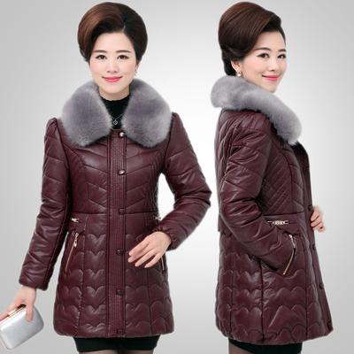中老年女装新款PU皮衣冬装外套加厚中年妈妈装棉衣中长款羽绒棉服