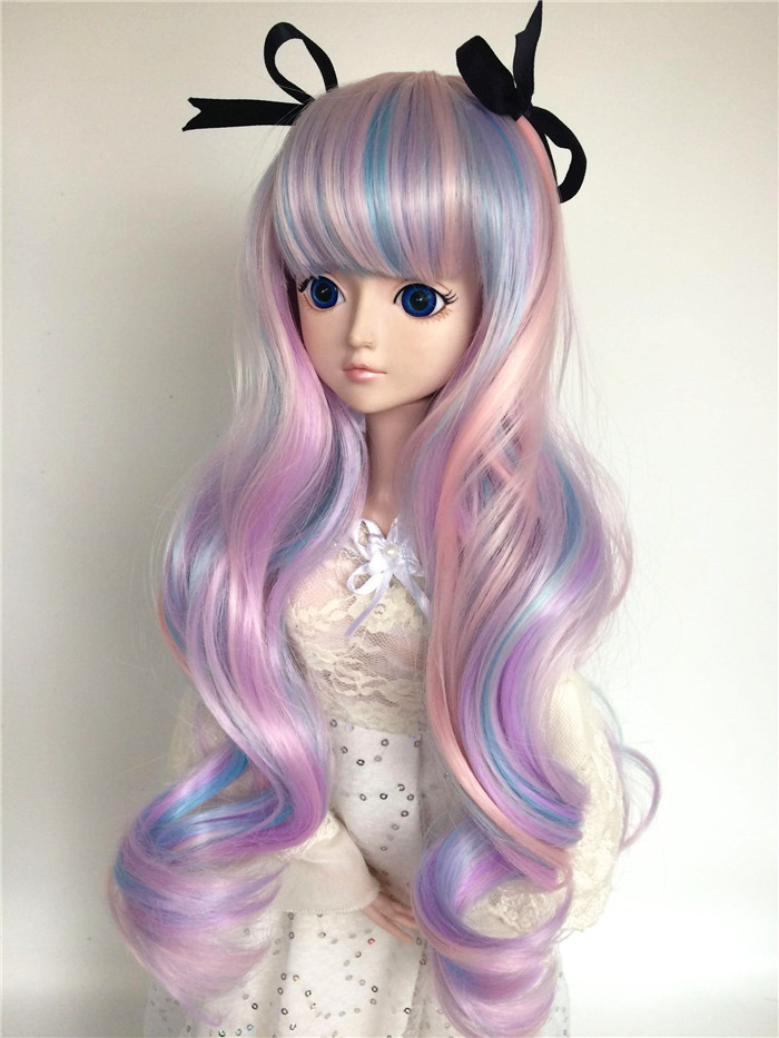 BJD SD baby wig colorful bow long curly hair 346 can be customized