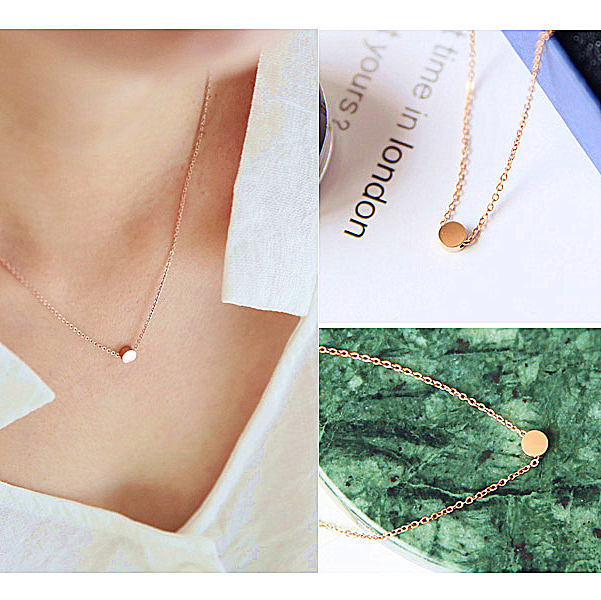 Versatile single rose gold Niki Mini gold beans ultra fine clavicle chain necklace women titanium steel silver necklace simple in Japan and Korea
