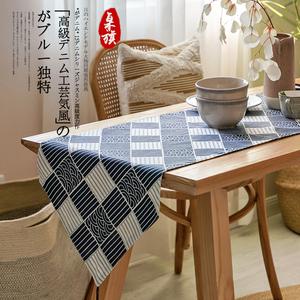 日式和風桌旗新中式禪意棉麻布藝餐桌布現代簡約電視柜茶幾臺蓋布