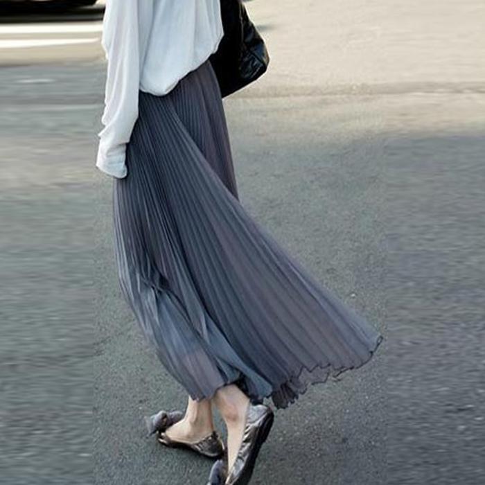 百褶裙长半身裙夏新款高腰百褶裙a字裙女韩版雪纺半身裙白色长裙