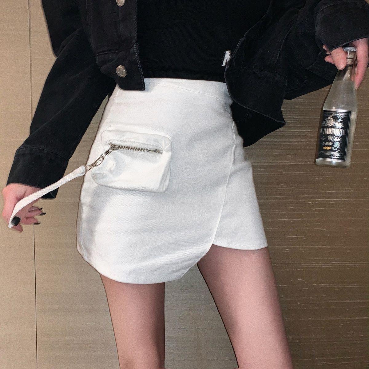 Chic self retaining denim skirt with seven sauce