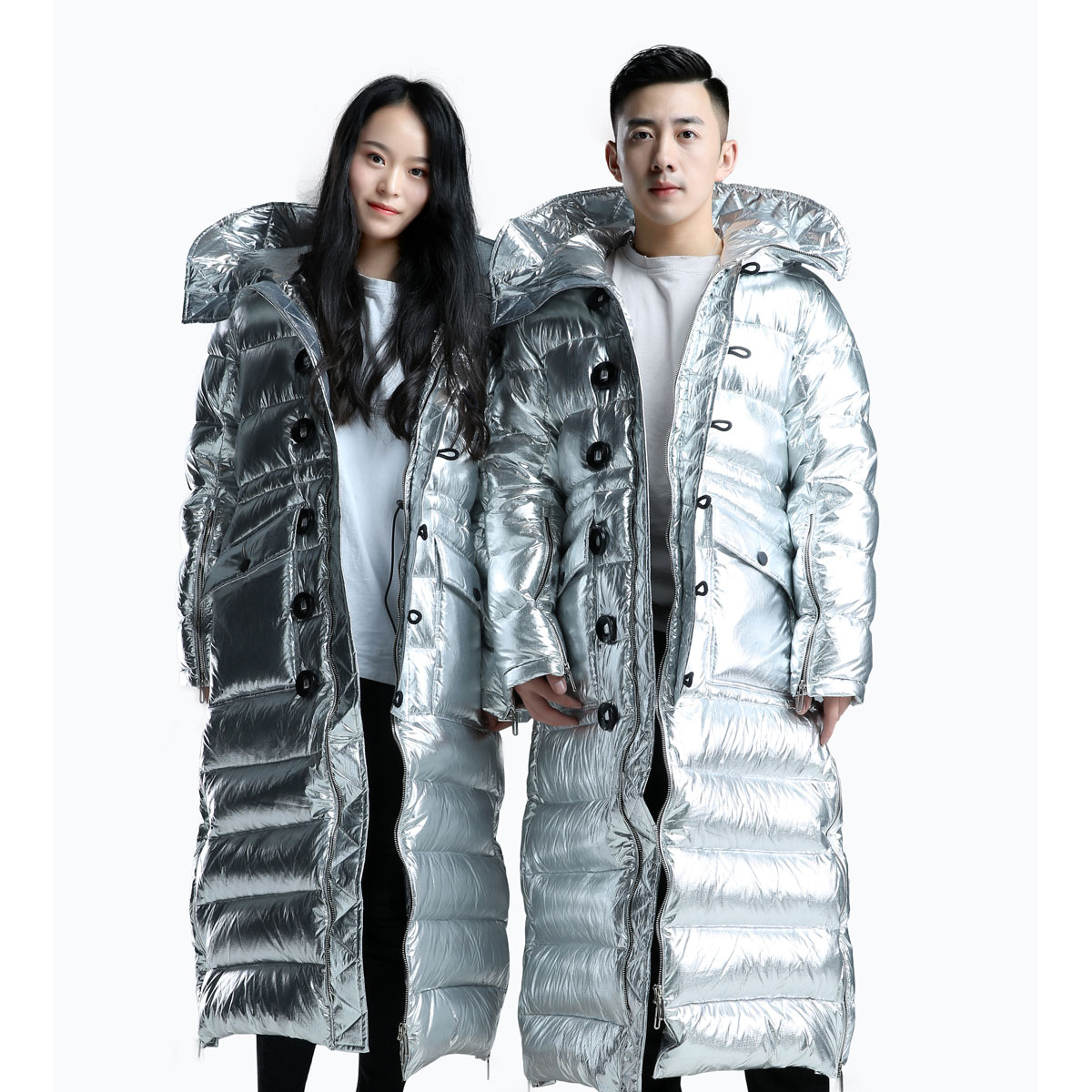 Hengdian moon e Luo Yunxi star same new big button iron gray silver long fashion lovers can be customized