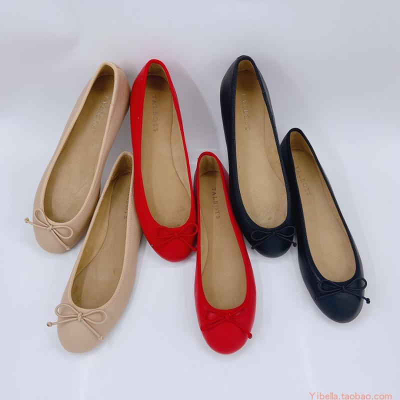 Single shoe womens spring new foreign trade womens shoes full leather one foot shallow BOW FLAT ballet womens shoes