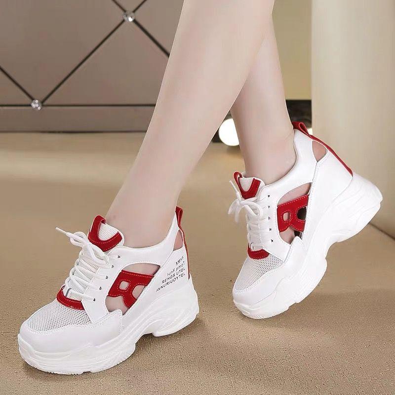 2020夏季新款网面内增高小白鞋女厚底百搭镂空透气运动休闲老爹鞋