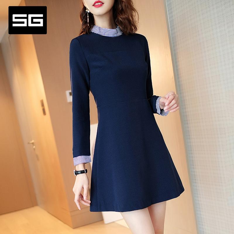 自然美感SG2018秋季新款女装深蓝色立领拉链连衣裙收腰九分袖中裙