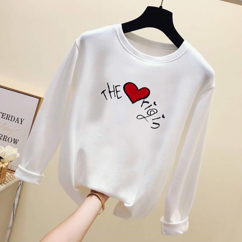 2019春季新款韩版长袖t恤女装宽松白色百搭打底衫修身上衣服装