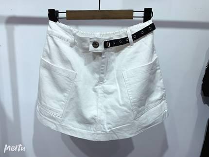 白色牛仔短裙裤松紧腰图片