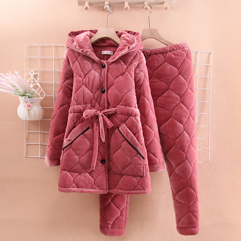 Korean version of sweet lace pajamas womens winter three-layer thickened cotton sandwiched moon clothing coral velvet pregnant women can wear home