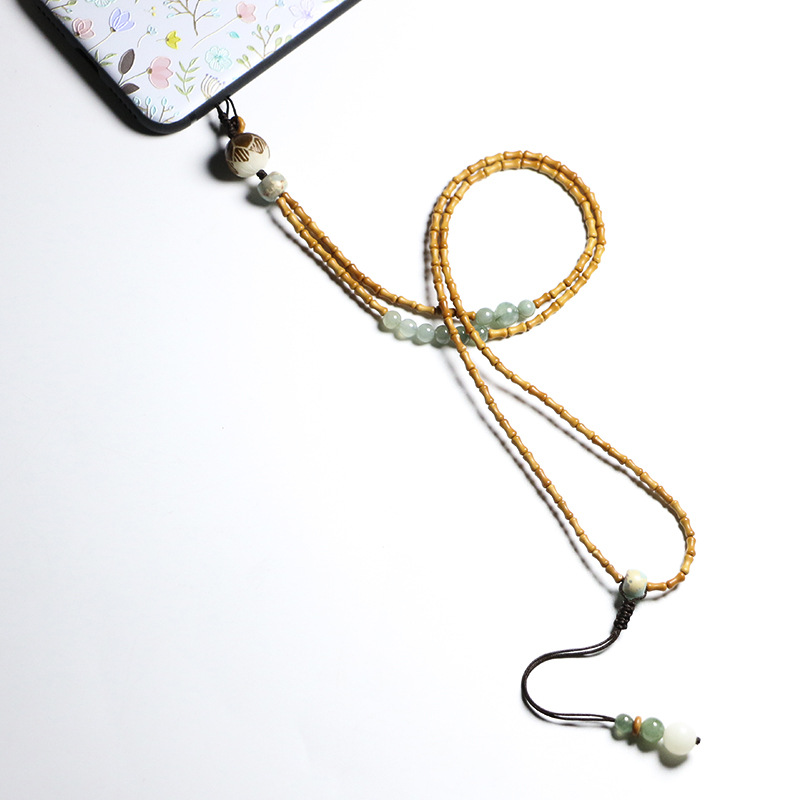 Original design creative olive core small bamboo beads mobile phone chain hanging rope men and women long necklace pendant Shoushan Stone Pendant