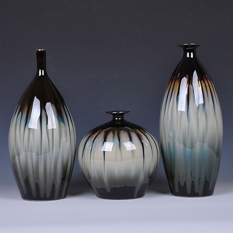 Jingdezhen ceramics black vase peony I vogue of new Chinese style household furnishing articles decoration decorate the living room