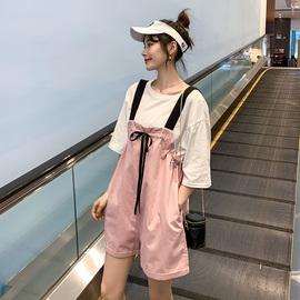 大码女装2020夏装新款微胖妹妹阔腿背带裤套装减龄显瘦短裤两件套图片
