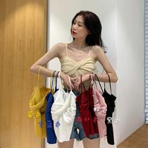 大码胖mm设计感吊带背心女外穿2020夏短款性感内搭针织打底小吊带