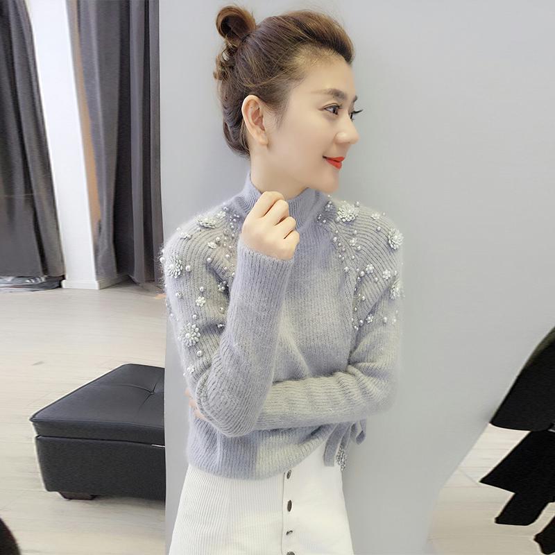欧洲站2018秋冬新款女欧货潮韩版慵懒风半高领钉珠修身毛衣打底衫
