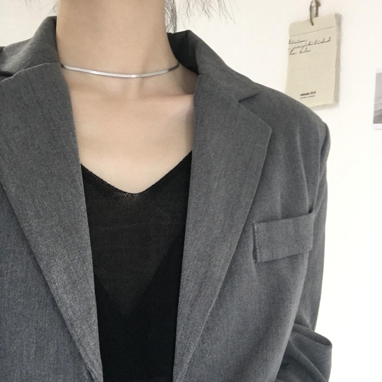 [耳伴饰品项链]气质光面925纯银项链女chic冷淡月销量315件仅售56元
