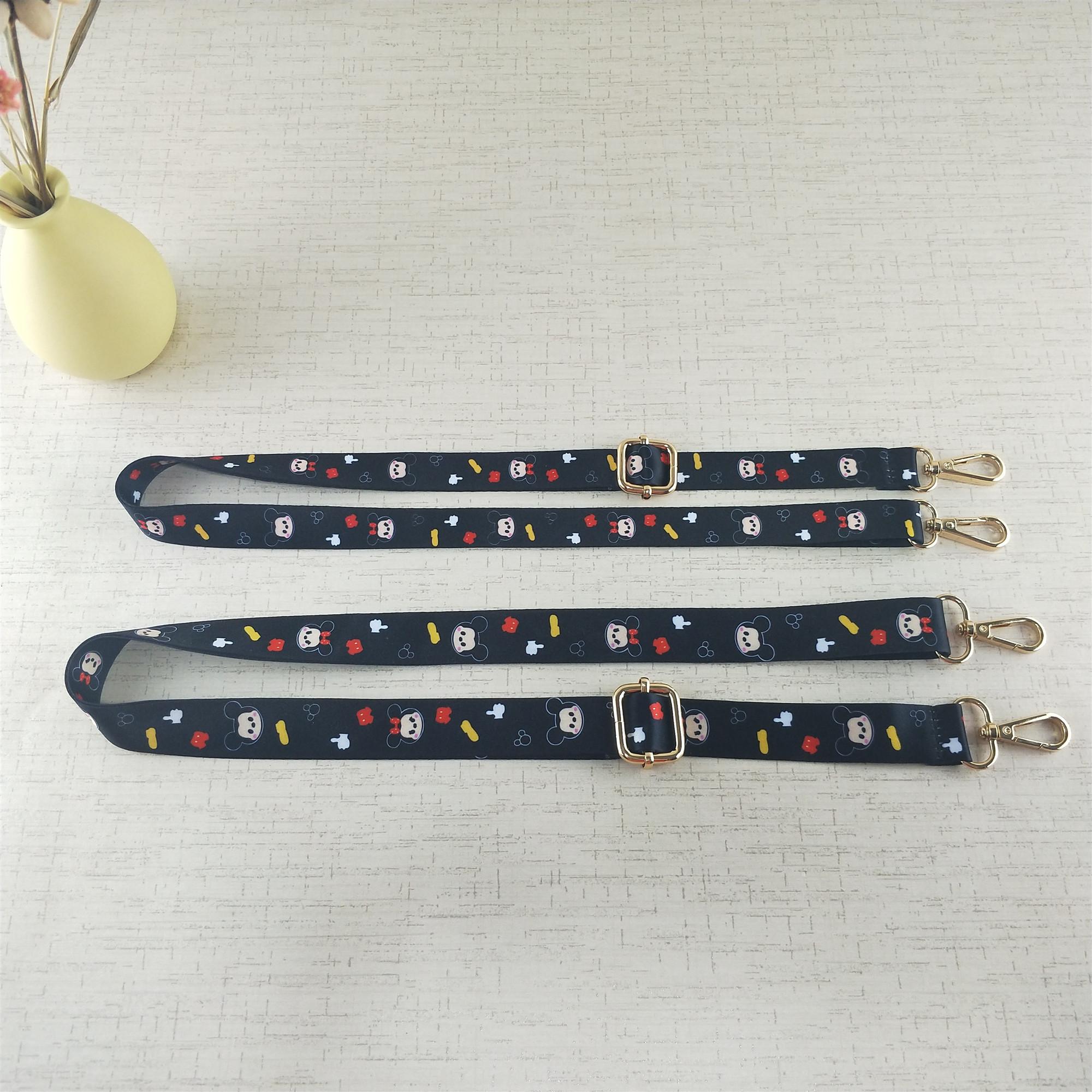 新品春夏小包手机包硅胶包带子卡通单肩斜跨背带窄带米奇印花织带