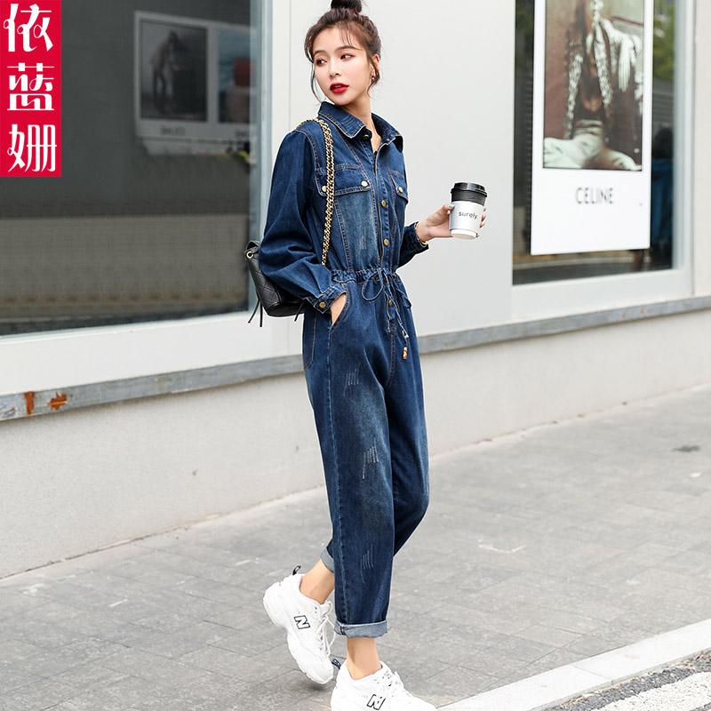 牛仔连体裤女春秋2021新款洋气时尚bf长袖显瘦休闲工装连衣裤套装