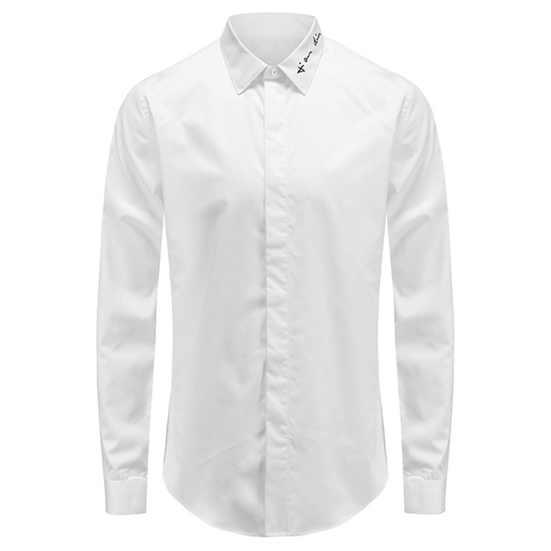 European and American fashion brand mens spring and autumn letter embroidery yuppie long sleeve shirt high end gentleman embroidery leisure Slim Fit Shirt