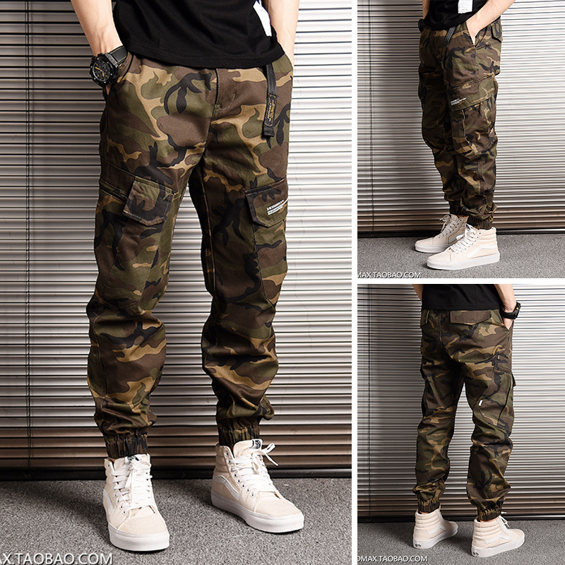Camouflage Street loose legged pants mens Japanese fashion brand mens and womens small foot casual pants overalls legged pants
