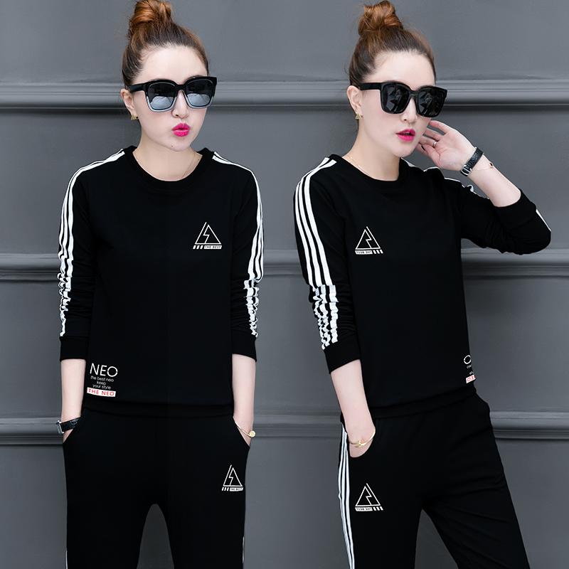 2018春秋冬季新款韩版式运动服套装女装休闲长袖显瘦卫衣两件套潮