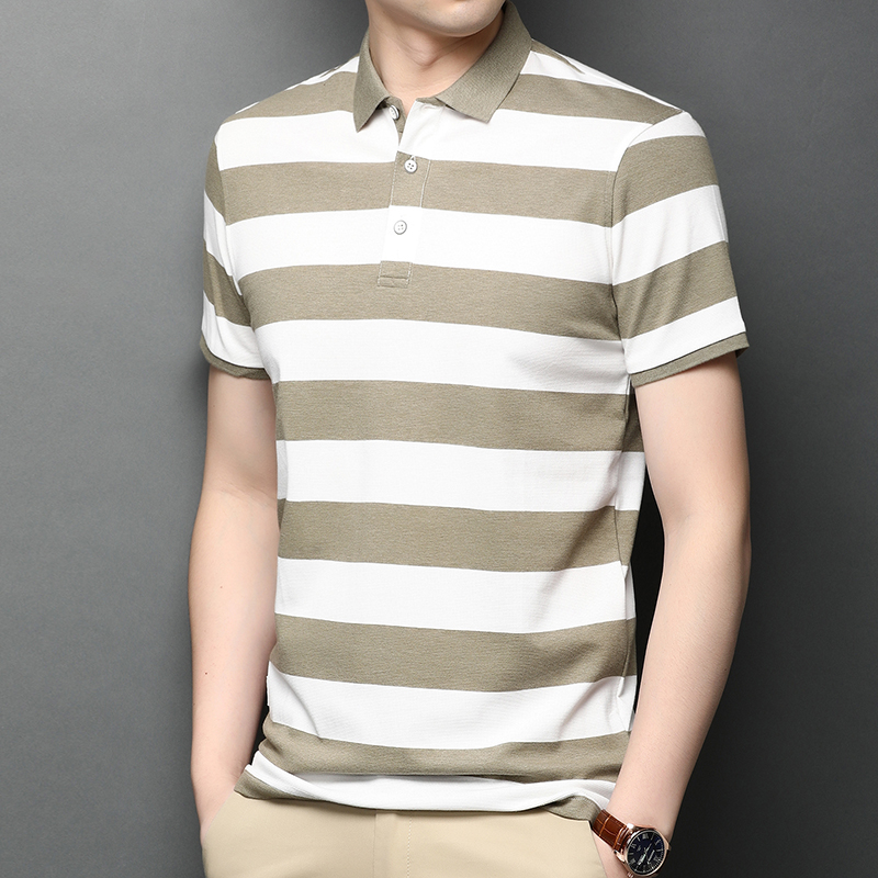 Lakey / Lexy summer new mens Cotton Short Sleeve T-Shirt young and middle-aged striped polo shirt casual lapel