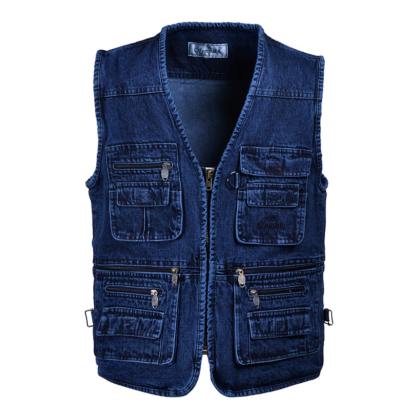 Middle aged and elderly cowboy Vest Large Size spring and autumn Multi Pocket zipper waistcoat father solid color fattening outdoor sports vest